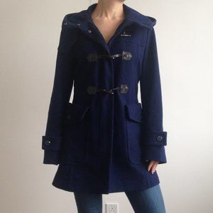 Benetton - Navy Wool Blend Coat With Hood